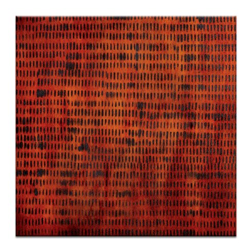 Burnt Orange Grid 1 by Katherine Boland Art Print on Canvas in Orange