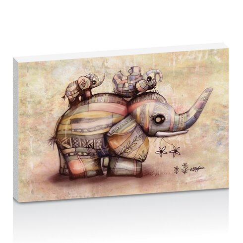 Upside Down Elephants Creamy Pink by Karin Taylor Art Print on Canvas