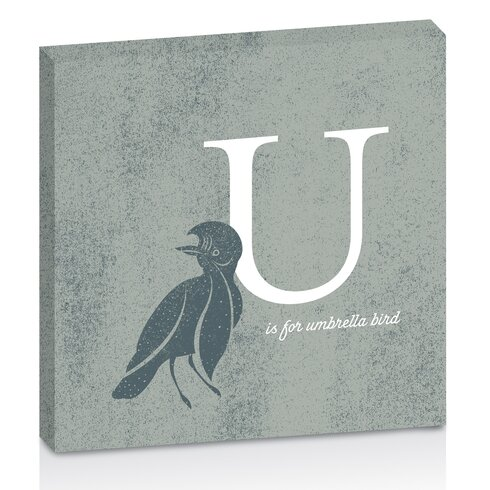 U for Umbrella by Toni Prime Graphic Art Wrapped on Canvas in Grey
