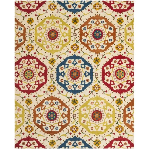 Hand-Tufted Ivory/Red Indoor/Outdoor Area Rug