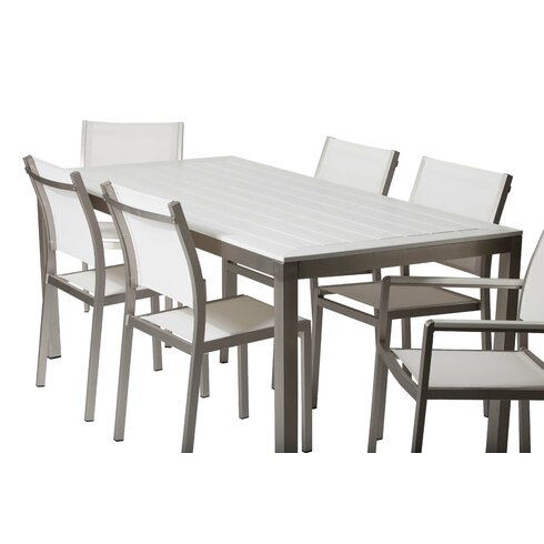 Hand Woven Lima 6 Seater Patio Furniture Dining Set Black Modern Gray Outdo