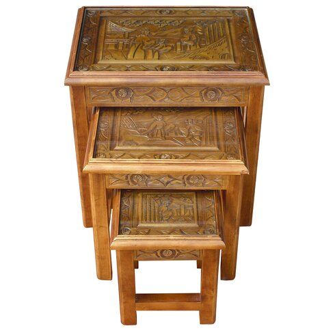Chinese Carved 3 Piece Nest of Tables
