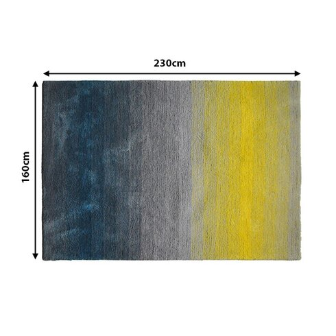 Teppich Dinar in Grau / Blau / Gelb