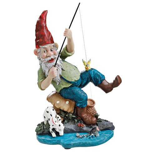 Garden Division Gone Fishing Gnome Statue