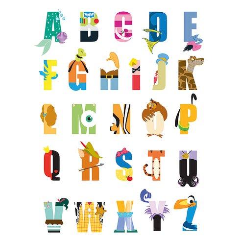 Disney Alphabet Typography Canvas Wall Art