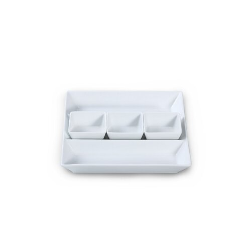 4 Piece Porcelain Chip and Dip Tray Set in White
