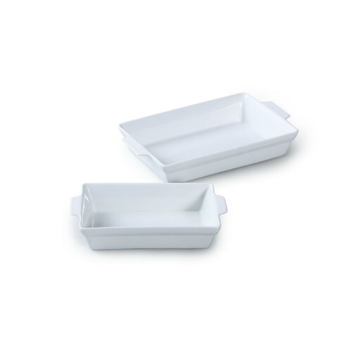 2 Piece Rectangle Porcelain Roaster Set in White