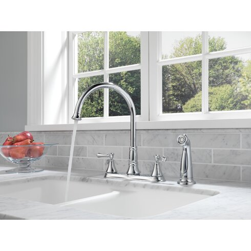 Delta Cassidy Double Handle Deck Mounted Kitchen Faucet With Spray