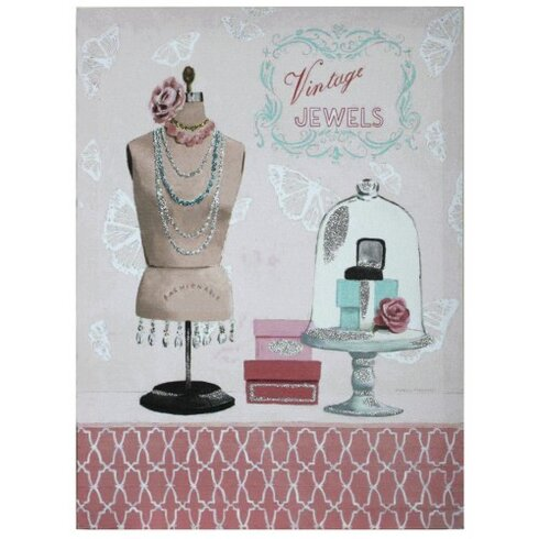Vintage Jewels With Glitter Graphic Art on Canvas