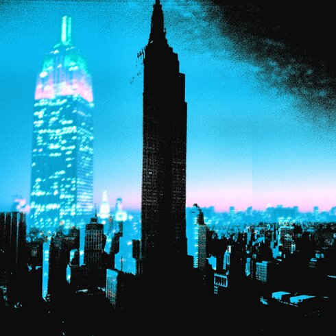 I Am Ny Graphic Art on Canvas in Blue