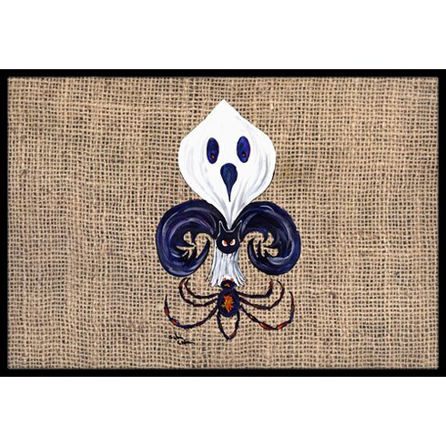 Caroline 39 s treasures halloween ghost spider bat fleur de lis doormat reviews wayfair - Fleur de lis doormat ...