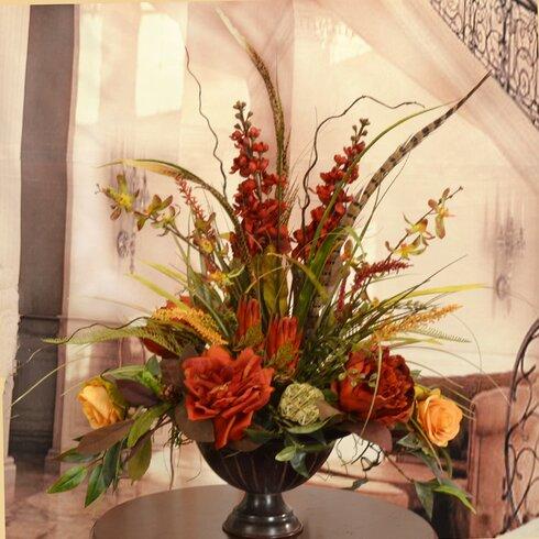orchid rose and feather silk flower arrangement - Silk Arrangements For Home Decor