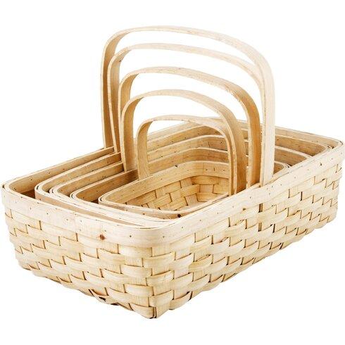 5 Piece Nesting Wicker Basket Set