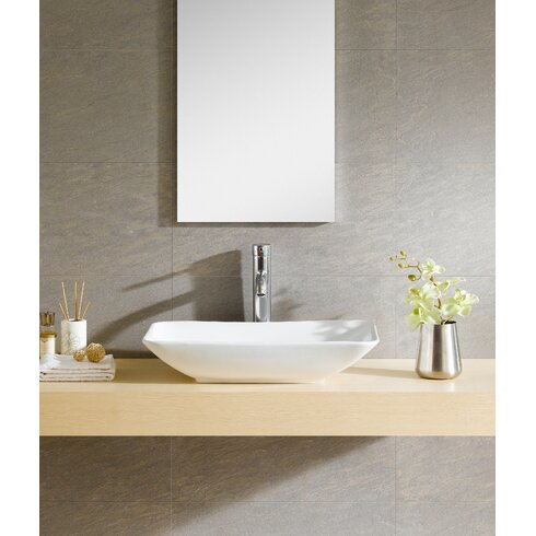Modern vitreous rectangular vessel bathroom sink reviews for Are vessel sinks out of style