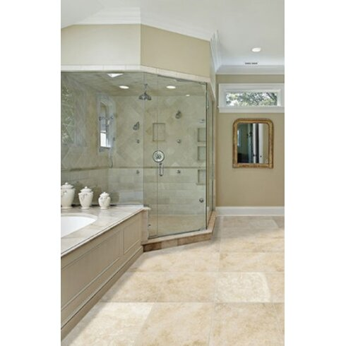 "Travertine 12"" x 24"" Filled and Honed Field Tile in Beige"