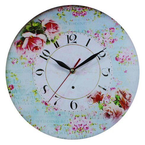 Pink Roses 34cm Wall Clock