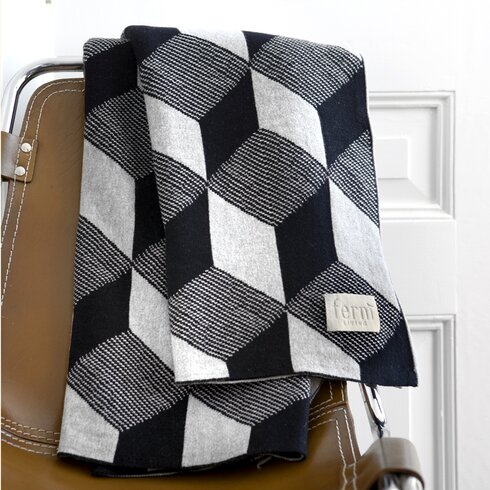 Jacquard Knitted Squares Cotton Blanket