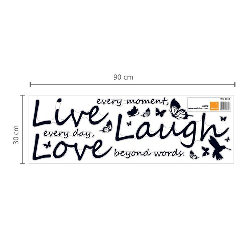 Flower Blossom with Butterflies and Quote Live Laugh Love Wall Sticker