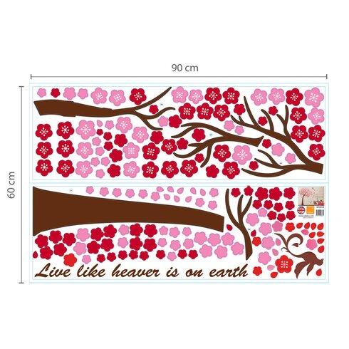 Pink Tree and 3D Pink Butterflies Art Wall Sticker