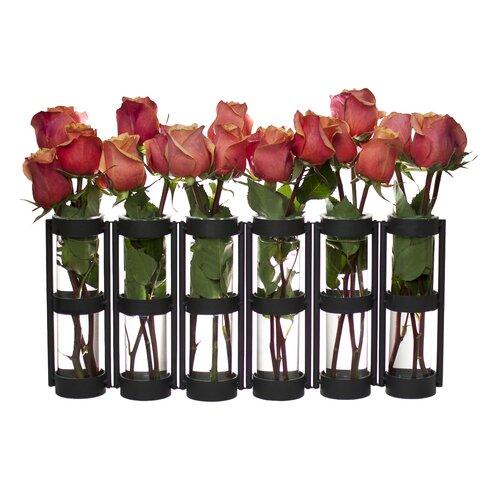 Frankie 7 Piece Metallic Vase with Stand Set
