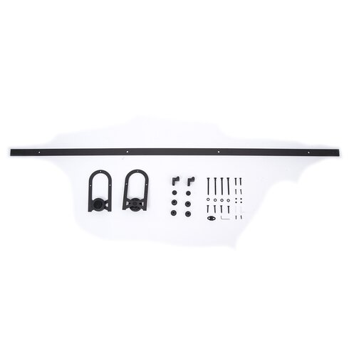 Hom  Rustic 6 Interior Sliding Barn Door Kit Hardware Set Black Cross Horseshoe 02 0691 HMCO1020 on accessories for rooms