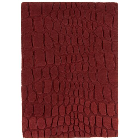 Croc Hand-Woven Red Area Rug