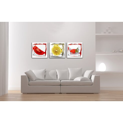 Fruits Ice Cubes 3 Piece Graphic Art Wrapped on Canvas Set