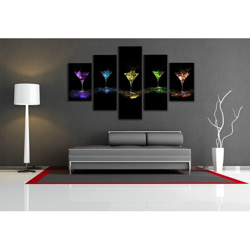 Glasses 5 Piece Photographic Print Wrapped on Canvas Set