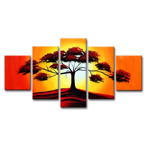 Tree 5 Piece Graphic Art Wrapped on Canvas Set
