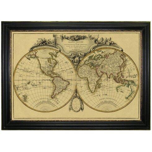 Vintage Map 'Mappemonde, 1782' Framed Graphic Art
