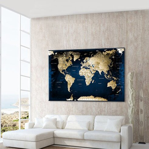 World Map with Cork Back Graphic Art on Canvas