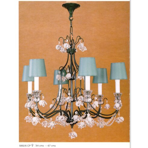 Painted 6 Light Crystal Chandelier