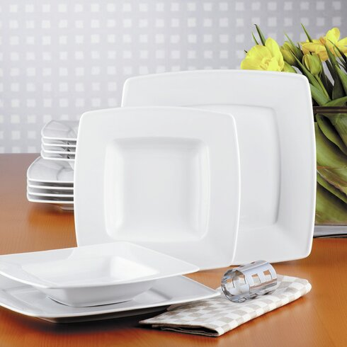 Victoria 12 Piece White Porcelain Dinnerware Set, Service for 6