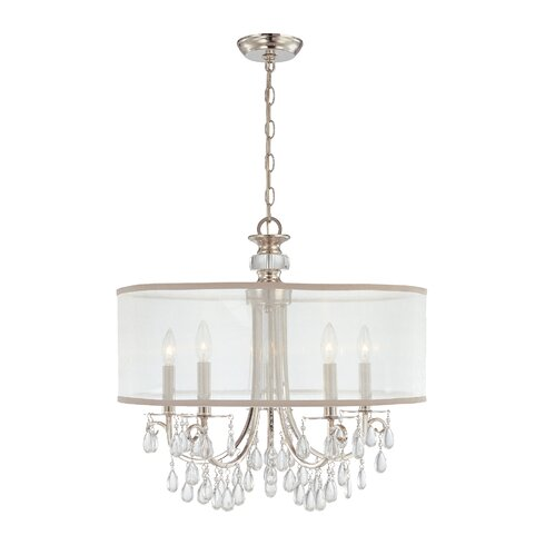 crystorama hampton 5 light drum chandelier reviews wayfair. Black Bedroom Furniture Sets. Home Design Ideas