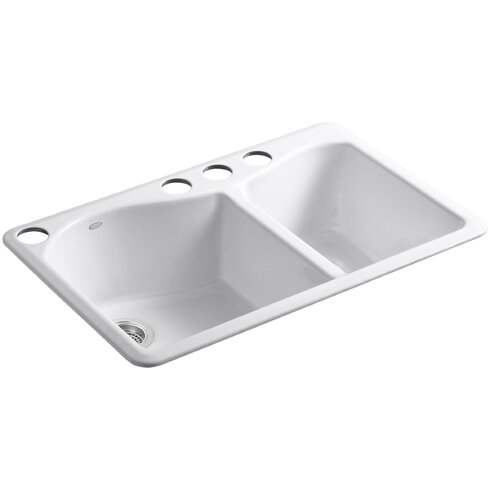 """Lawnfield 33"""" x 22"""" x 9-5/8"""" Under-Mount Large/Medium Double-Bowl Kitchen Sink with 4 Oversize Faucet Holes"""