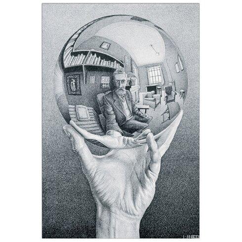 'Hand with Globe' by Escher  Graphic Art Plaque