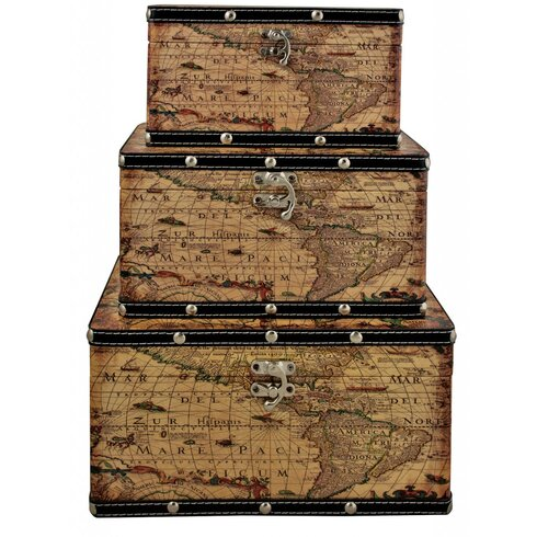 3 Piece Map Storage Box Set