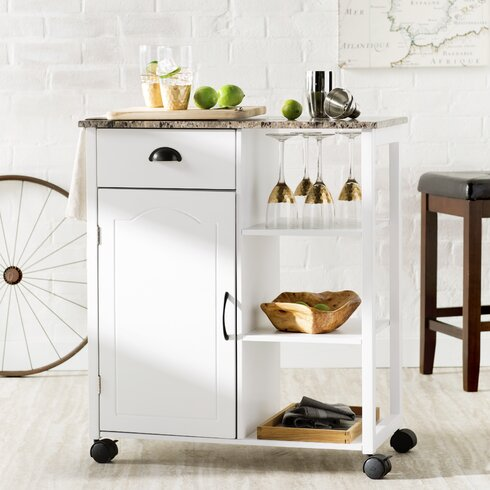 Andover Mills Irma Kitchen Cart With Marble Top Reviews
