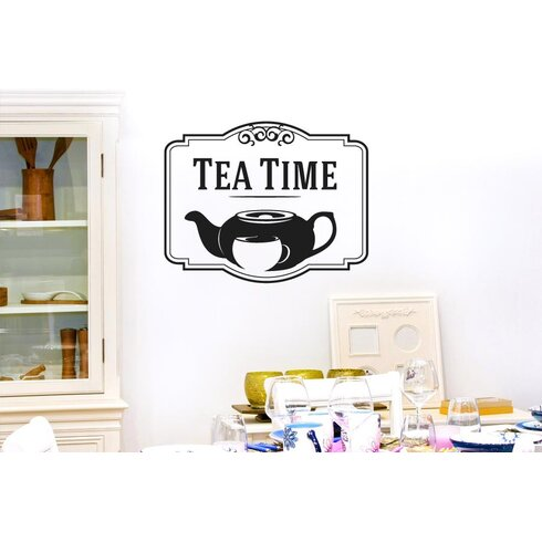 Tea Time with Tea Pot and Cup Wall Sticker