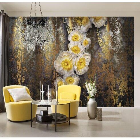 Serafina 2.54m L x 368cm W Floral and Botanical Tile/Panel Wallpaper