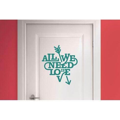 All We Need Is Love Heart and Arrow Door Room Wall Sticker