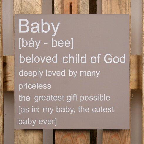 Schild-Set BD-Baby, Typographische Kunst in Taupe