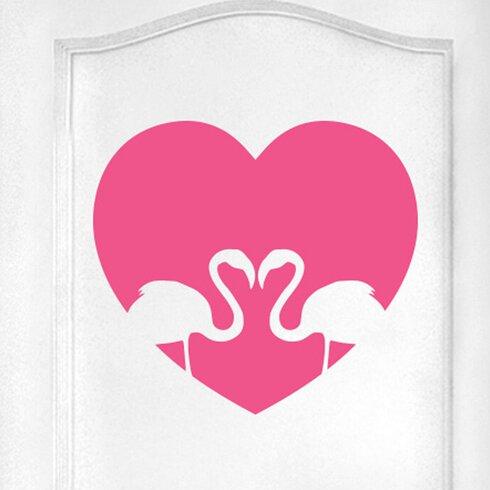 Flamingo Love Heart Door Room Wall Sticker