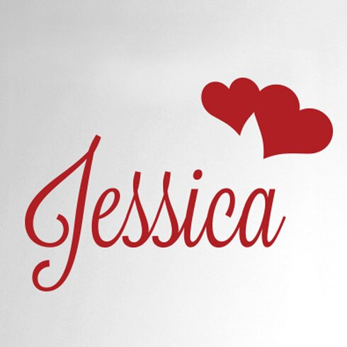Personalised Name with Two Hearts Door Room Wall Sticker
