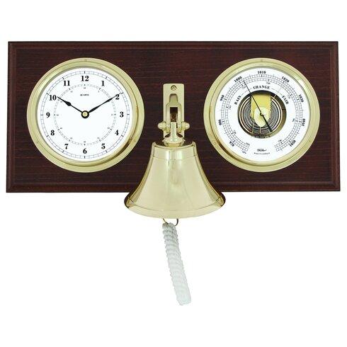 Uhr und Barometer mit Messingglocke