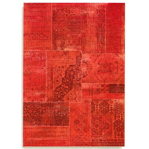Patchwork Red Area Rug