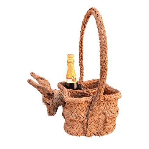 Square Esparto Grass Basket for Bottle