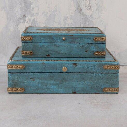 2 Piece Wood And Metal Box Set