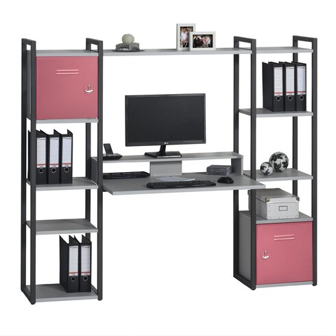 Office Computer Desk with Shelving Unit