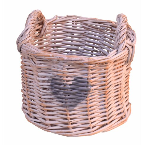 Round Willow Basket with Heart